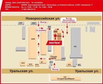Схема проезда г. Краснодар,ул.Новороссийская, д.240, пом.11